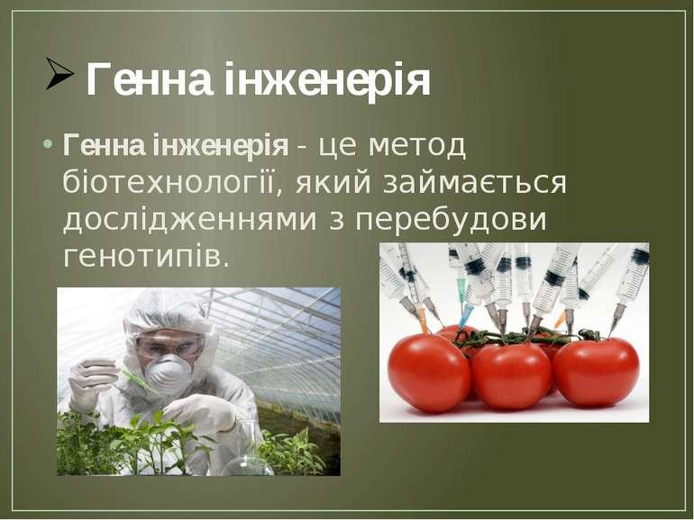 Генна інженерія Генна інженерія - це метод біотехнології, який займається дос...