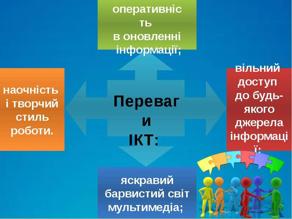 Переваги ІКТ: оперативність в оновленні інформації; яскравий барвистий світ м...
