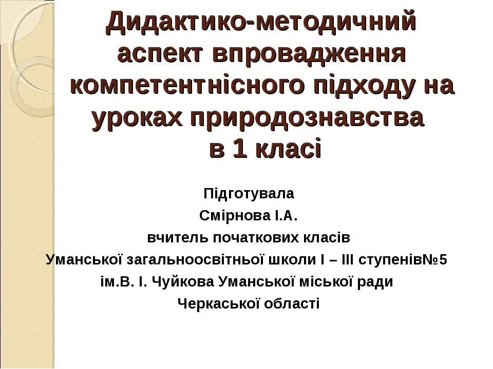 Дидактико-методичний аспект впровадження компетентнісного підходу на уроках п...