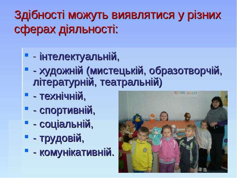 Здібності можуть виявлятися у різних сферах діяльності: - інтелектуальній, - ...