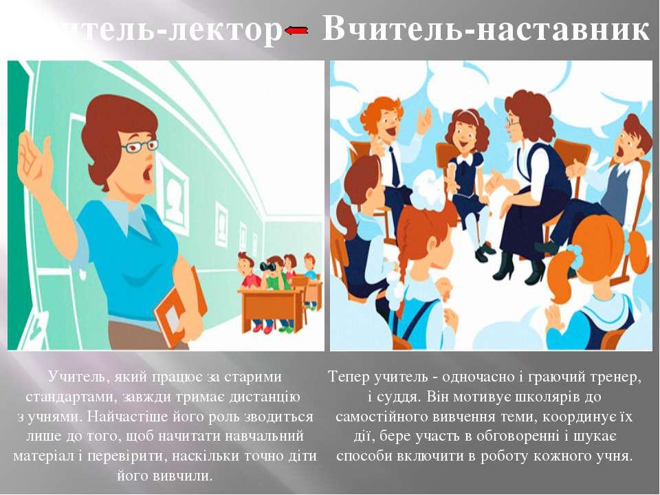 Вчитель-лектор Вчитель-наставник Учитель, який працює за старими стандартами,...