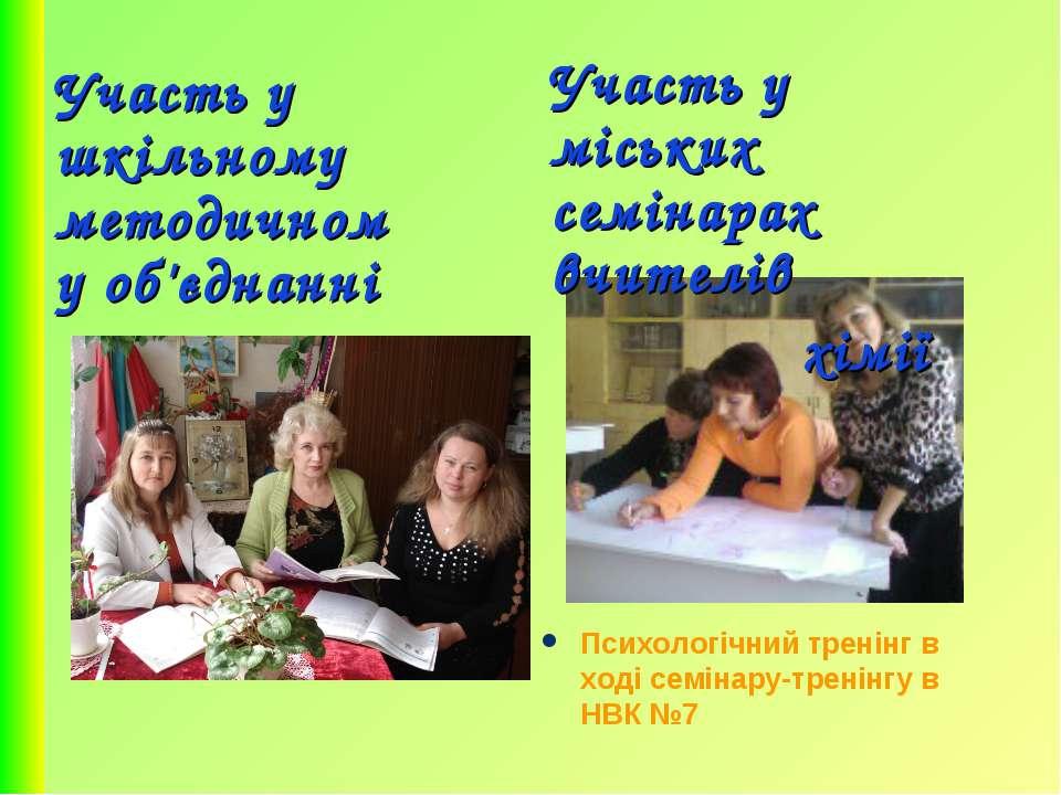 Участь у шкільному методичному об'єднанні Участь у міських семінарах вчителів...