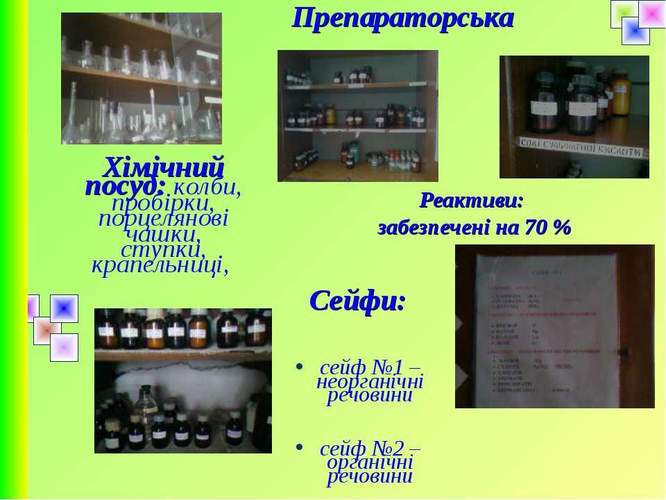 Препараторська Хімічний посуд: колби, пробірки, порцелянові чашки, ступки, кр...