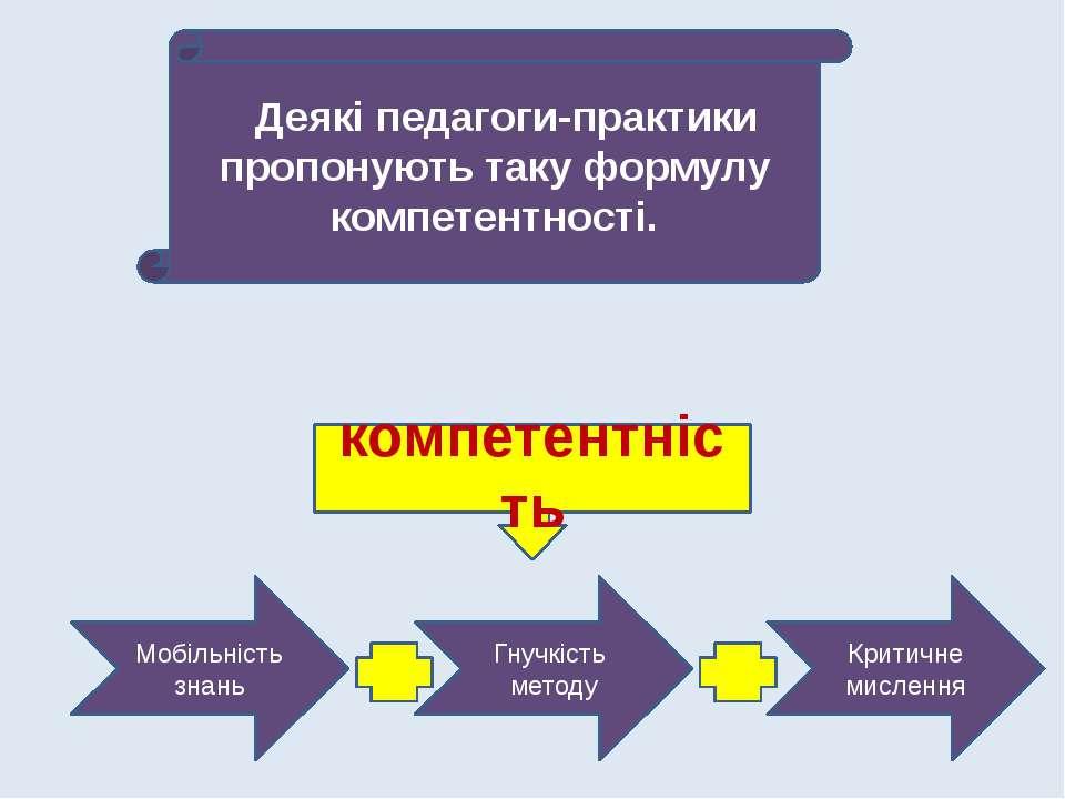 Деякі педагоги-практики пропонують таку формулу компетентності. компетентніст...