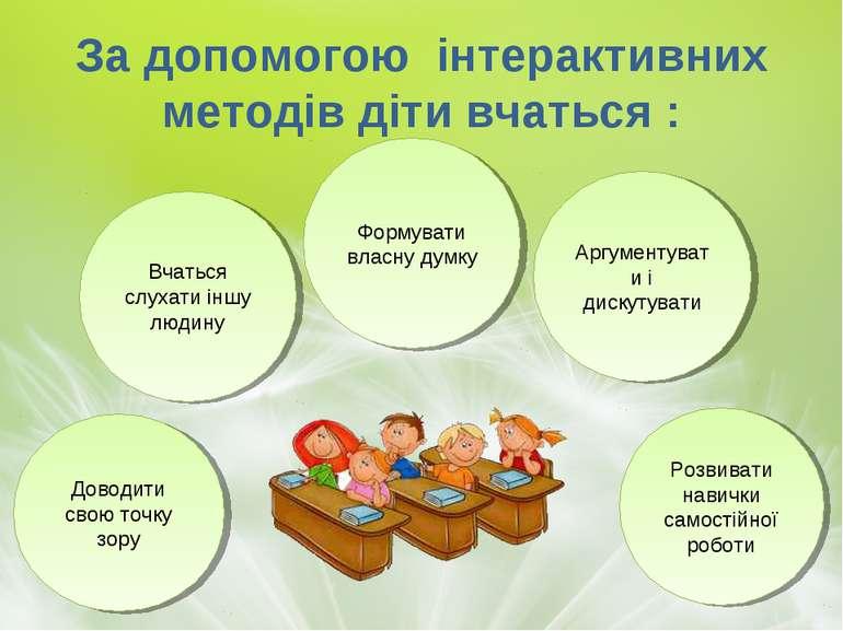 За допомогою інтерактивних методів діти вчаться : Вчаться слухати іншу людину...