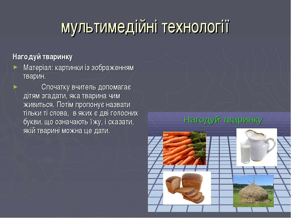 мультимедійні технології Нагодуй тваринку Матеріал: картинки із зображенням т...