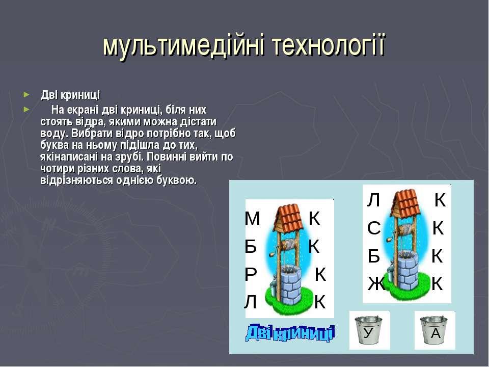 мультимедійні технології Дві криниці На екрані дві криниці, біля них стоять в...