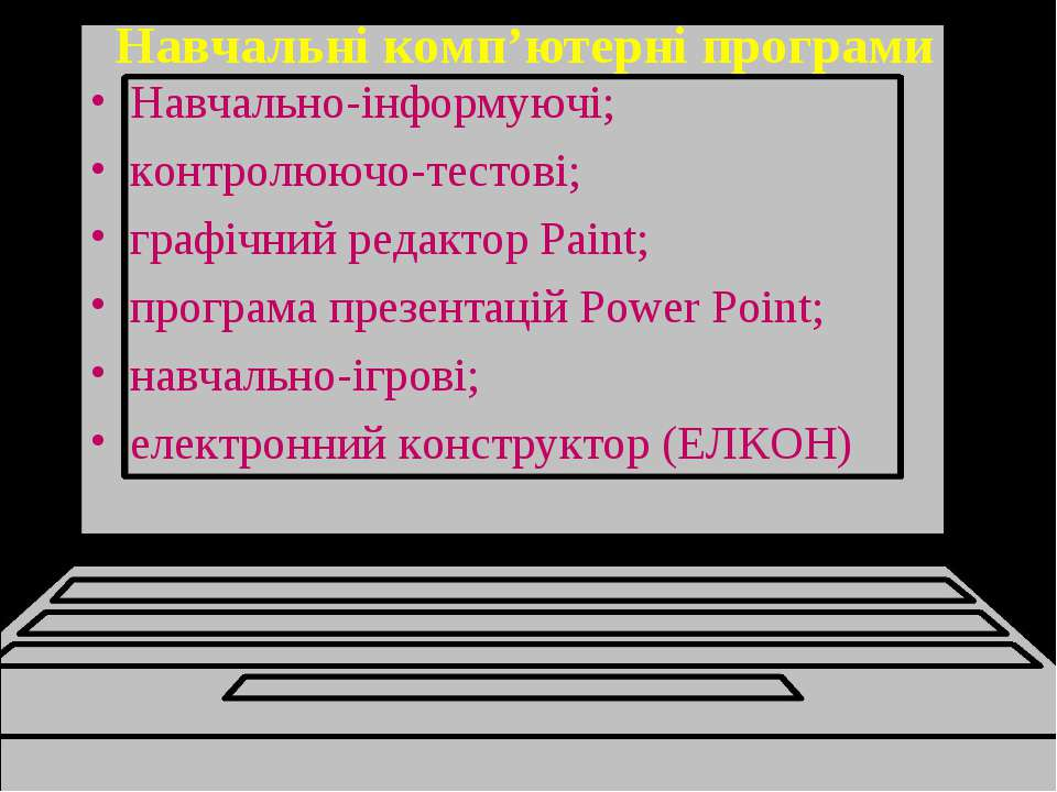 Навчальні комп'ютерні програми Навчально-інформуючі; контролюючо-тестові; гра...