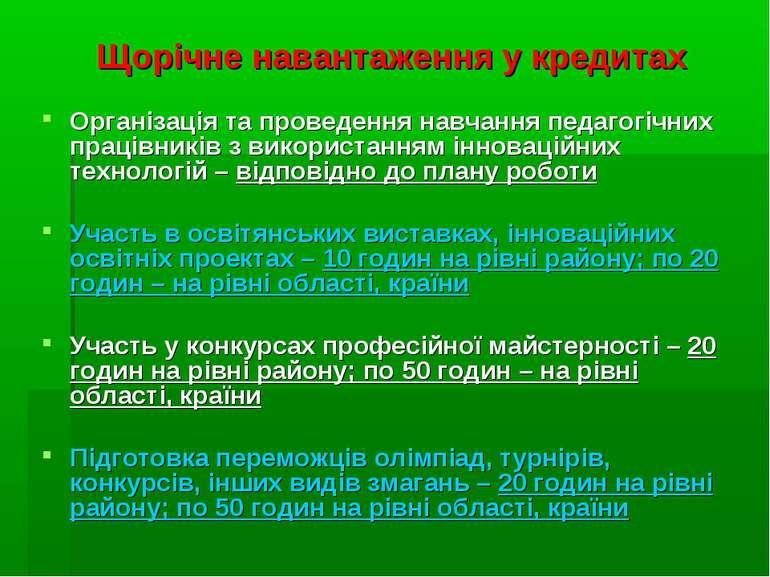 Щорічне навантаження у кредитах Організація та проведення навчання педагогічн...