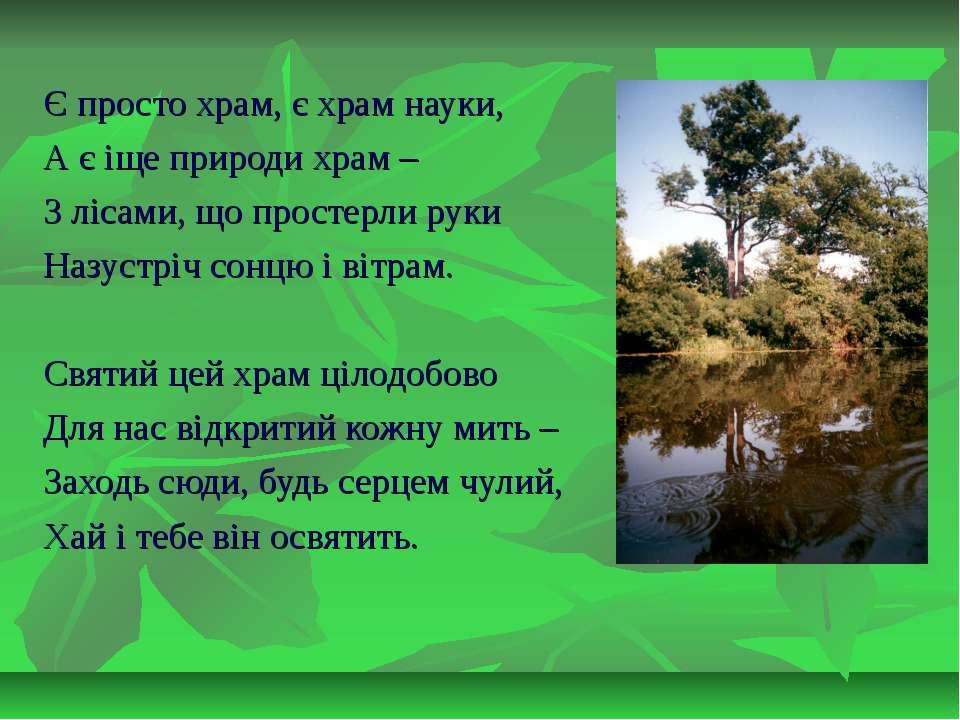 Є просто храм, є храм науки, А є іще природи храм – З лісами, що простерли ру...