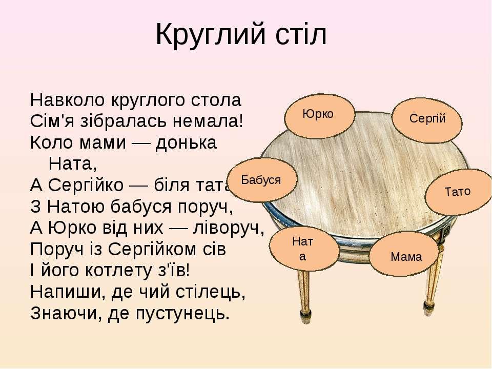 Навколо круглого стола Сім'я зібралась немала! Коло мами — донька Ната, А Сер...