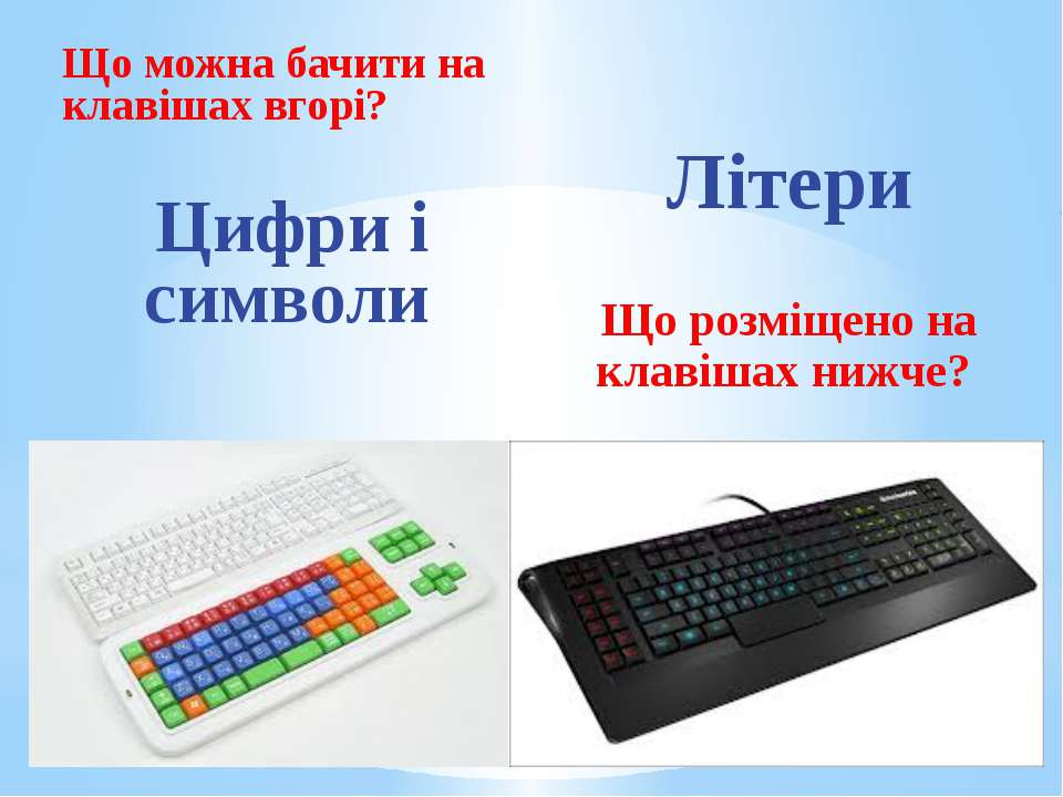 Що можна бачити на клавішах вгорі? Цифри і символи Літери Що розміщено на кла...