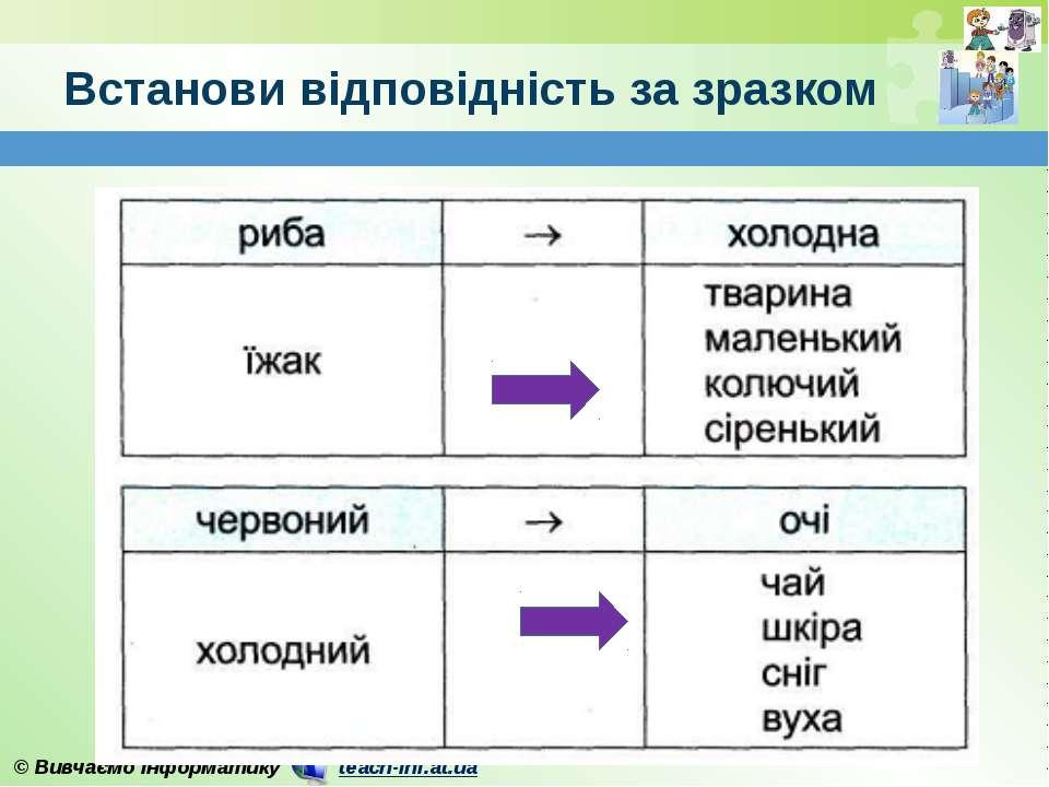 Встанови відповідність за зразком © Вивчаємо інформатику teach-inf.at.ua