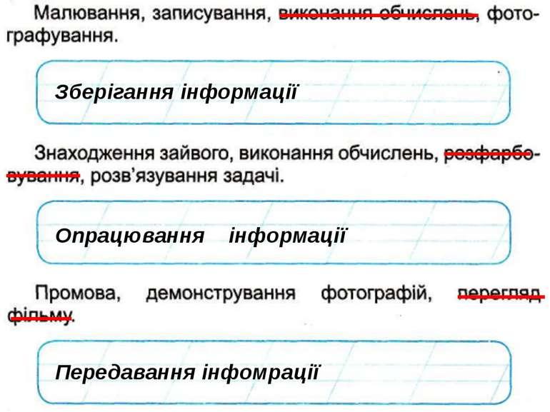 Зберігання інформації Опрацювання інформації Передавання інфомрації © Вивчаєм...