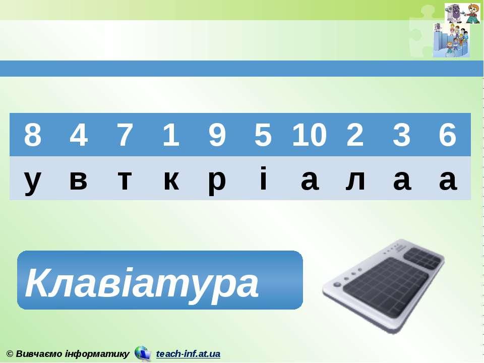 Клавіатура 8 4 7 1 9 5 10 2 3 6 у в т к р і а л а а © Вивчаємо інформатику te...