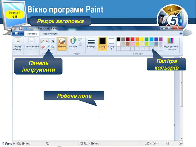 Розділ 3 § 15 Вікно програми Paint Рядок заголовка Робоче поле Палітра кольор...