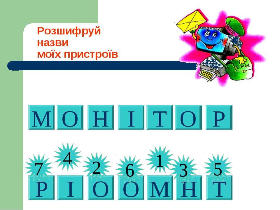 2 Розшифруй назви моїх пристроїв Р 7 О 2 І 4 О 6 М 1 Н 3 Т 5 М О Н І Т О Р