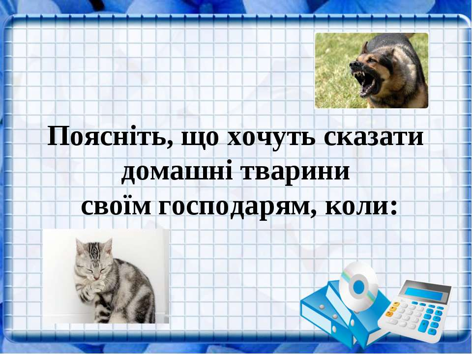 Поясніть, що хочуть сказати домашні тварини своїм господарям, коли: