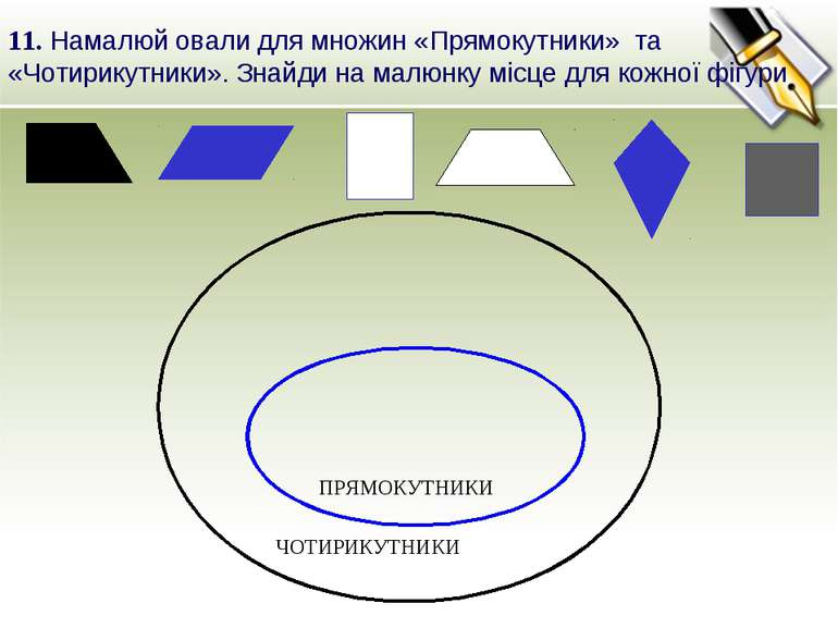 11. Намалюй овали для множин «Прямокутники» та «Чотирикутники». Знайди на мал...