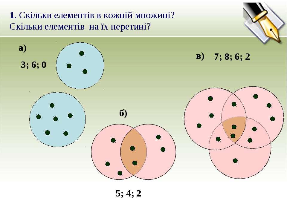1. Скільки елементів в кожній множині? Скільки елементів на їх перетині? а) б...