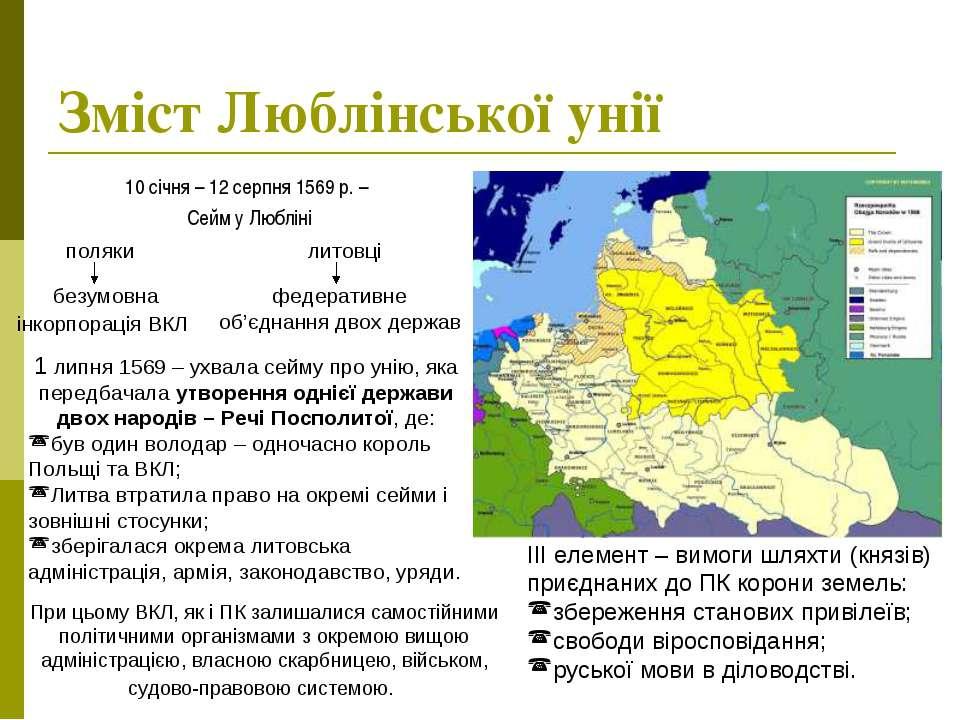 Зміст Люблінської унії 10 січня – 12 серпня 1569 р. – Сейм у Любліні поляки л...