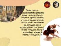 Види театру: за засобами сценічної мови - опера, балет, оперета, драматичний,...