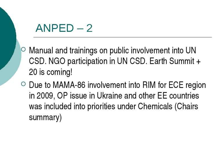 ANPED – 2 Manual and trainings on public involvement into UN CSD. NGO partici...