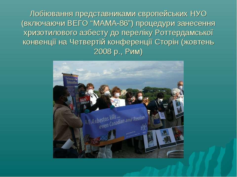 """Лобіювання представниками європейських НУО (включаючи ВЕГО """"МАМА-86"""") процеду..."""