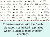 Russian is written with the Cyrillic alphabet, not the Latin alphabet which i...