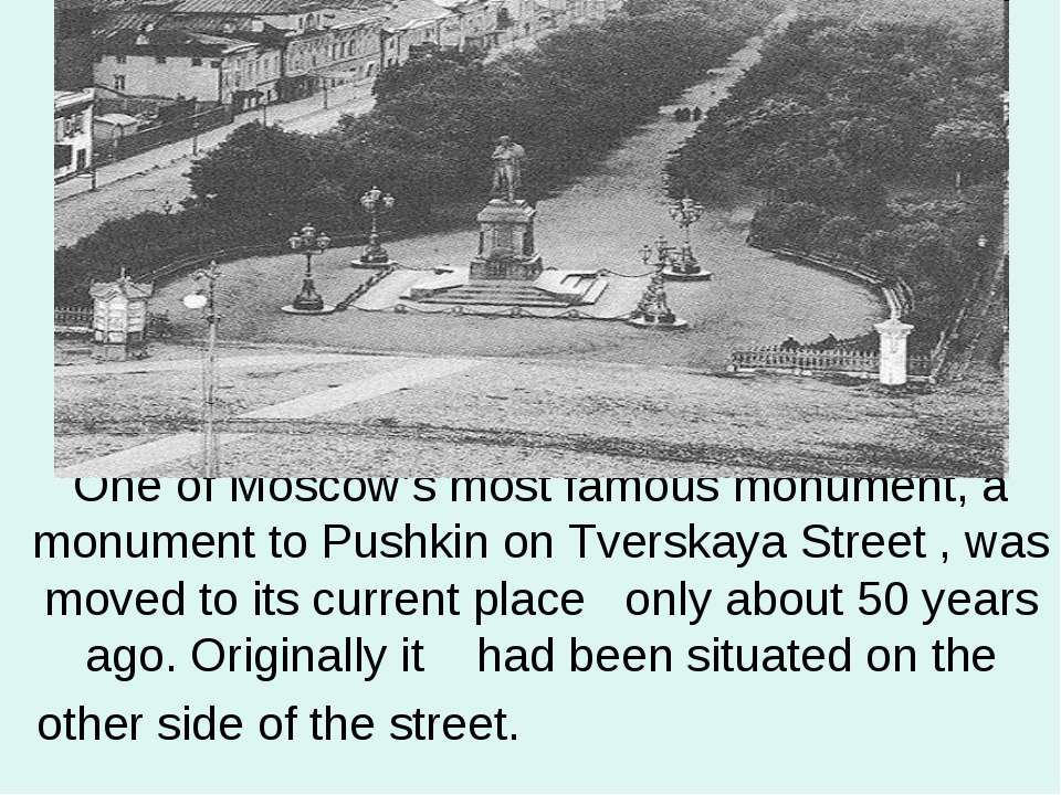 One of Moscow's most famous monument, a monument to Pushkin on Tverskaya Stre...