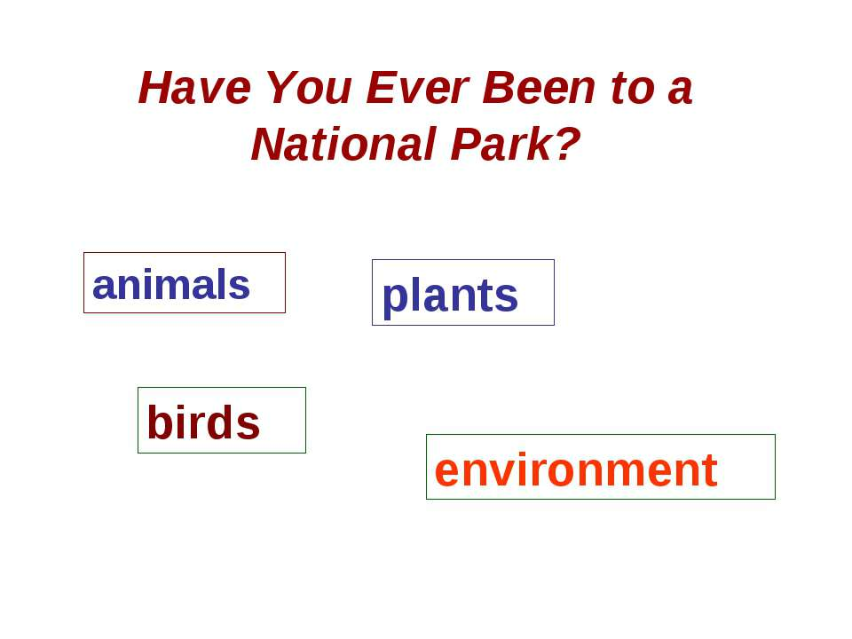 Have You Ever Been to a National Park? animals plants birds environment
