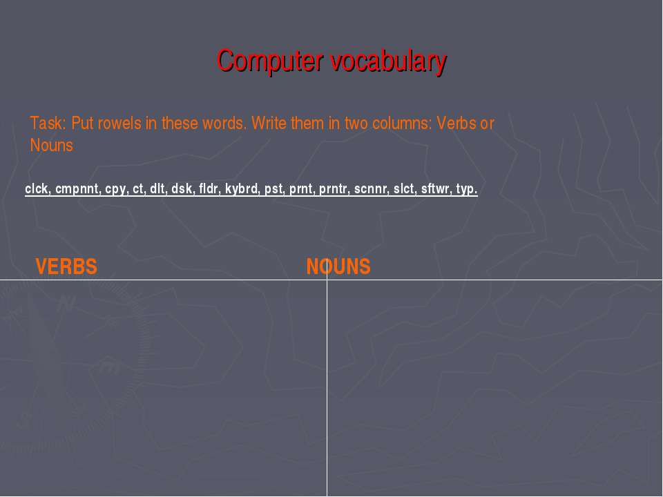 Computer vocabulary Task: Put rowels in these words. Write them in two column...