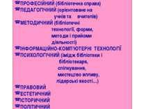 ПРОФЕСІЙНИЙ (бібліотечна справа) ПЕДАГОГІЧНИЙ (орієнтоване на учнів та вчител...