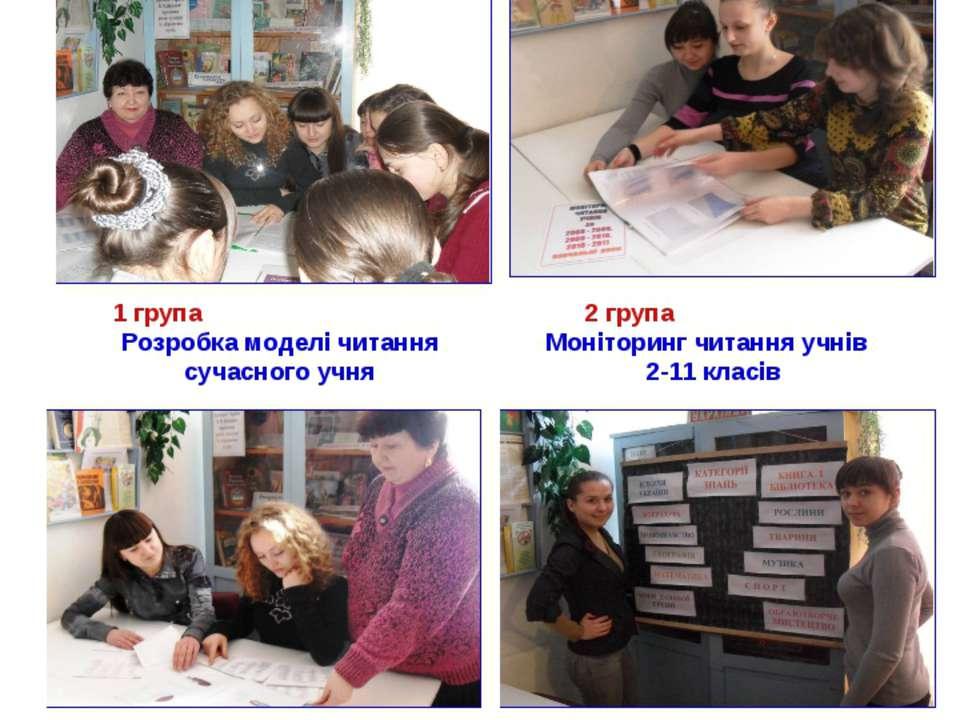 1 група Розробка моделі читання сучасного учня 2 група Моніторинг читання учн...