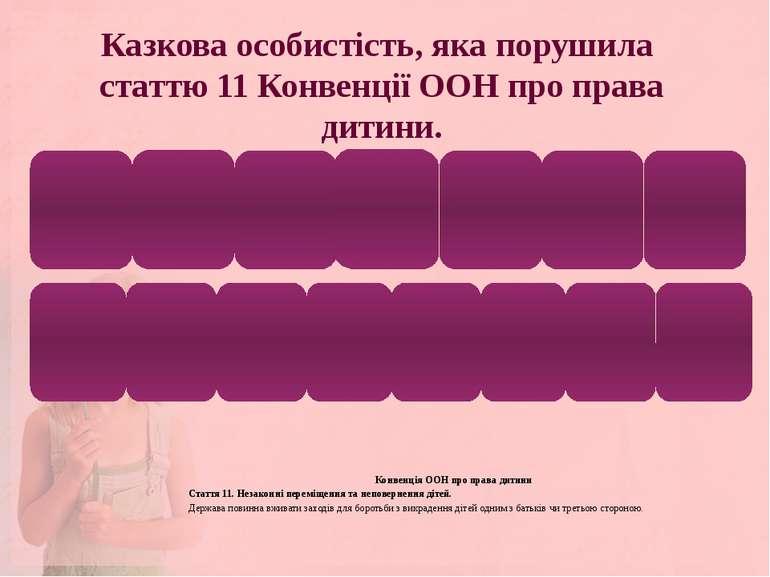 Казкова особистість, яка порушила статтю 11 Конвенції ООН про права дитини. К...