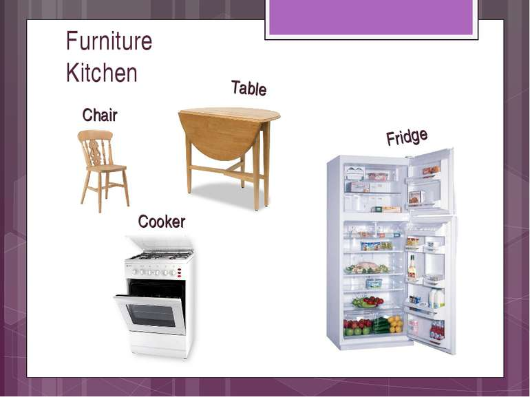 Furniture Kitchen Table Chair Cooker Fridge