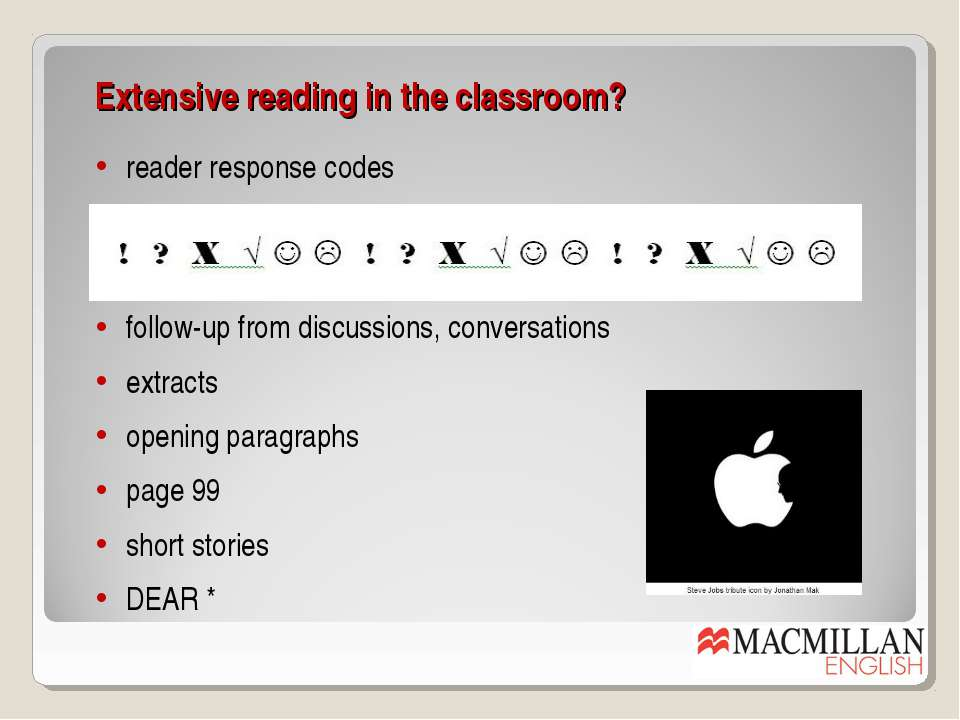 Extensive reading in the classroom? follow-up from discussions, conversations...