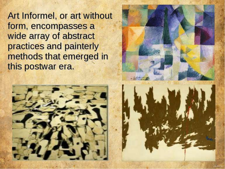 Art Informel, or art without form, encompasses a wide array of abstract pract...