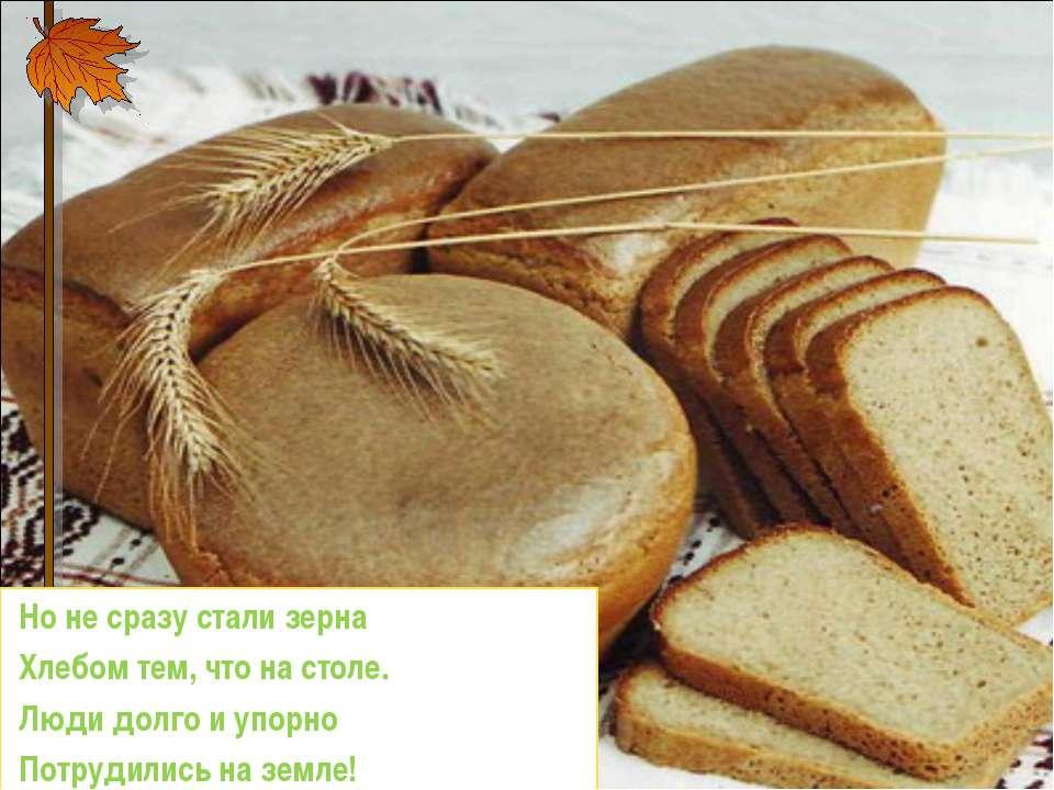 Но не сразу стали зерна Хлебом тем, что на столе. Люди долго и упорно Потр...
