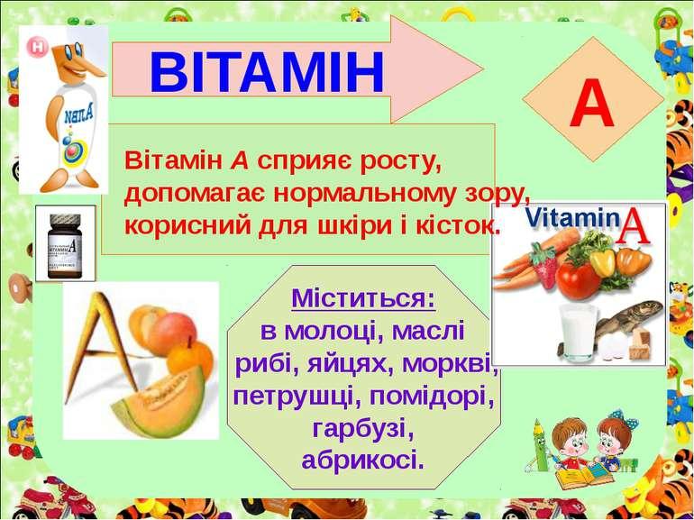 ВІТАМІН A Міститься: в молоці, маслі рибі, яйцях, моркві, петрушці, помідорі,...