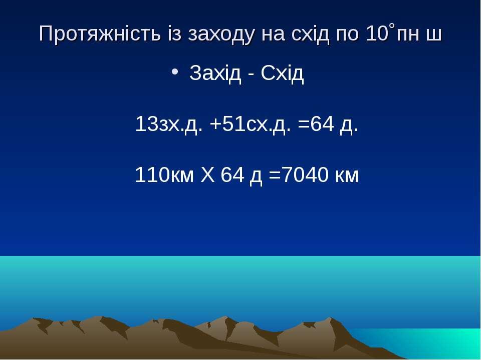 Протяжність із заходу на схід по 10˚пн ш Захід - Схід 13зх.д.+51сх.д.=64д...