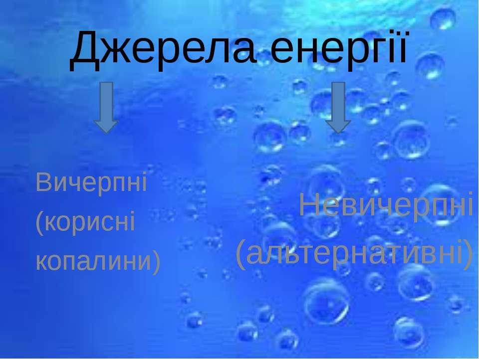 Джерела енергії Невичерпні (альтернативні) Вичерпні (корисні копалини)