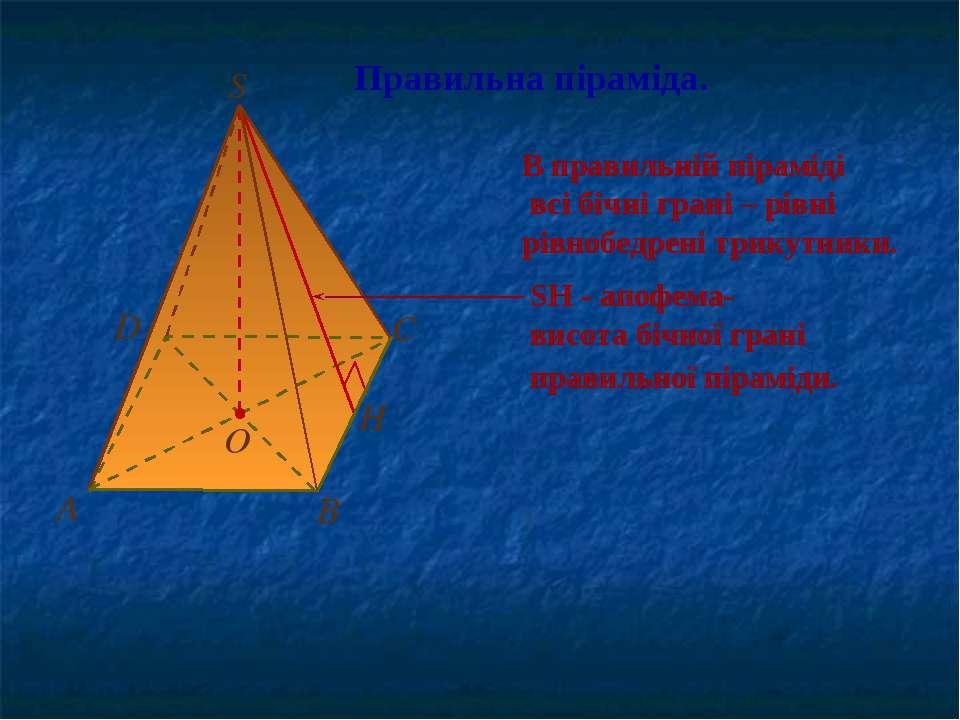 Правильна піраміда. В правильній піраміді всі бічні грані – рівні рівнобедрен...