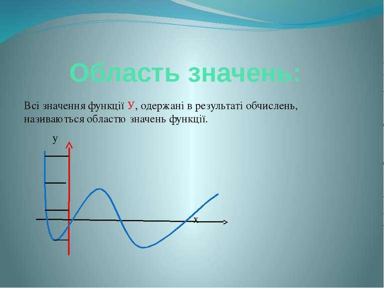 Область значень: Всі значення функції У, одержані в результаті обчислень, наз...