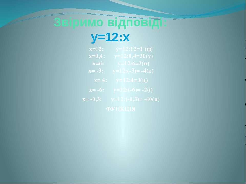 Звіримо відповіді: у=12:х х=12: у=12:12=1 (ф) х=0,4: у=12:0,4=30(у) х=6: у=12...