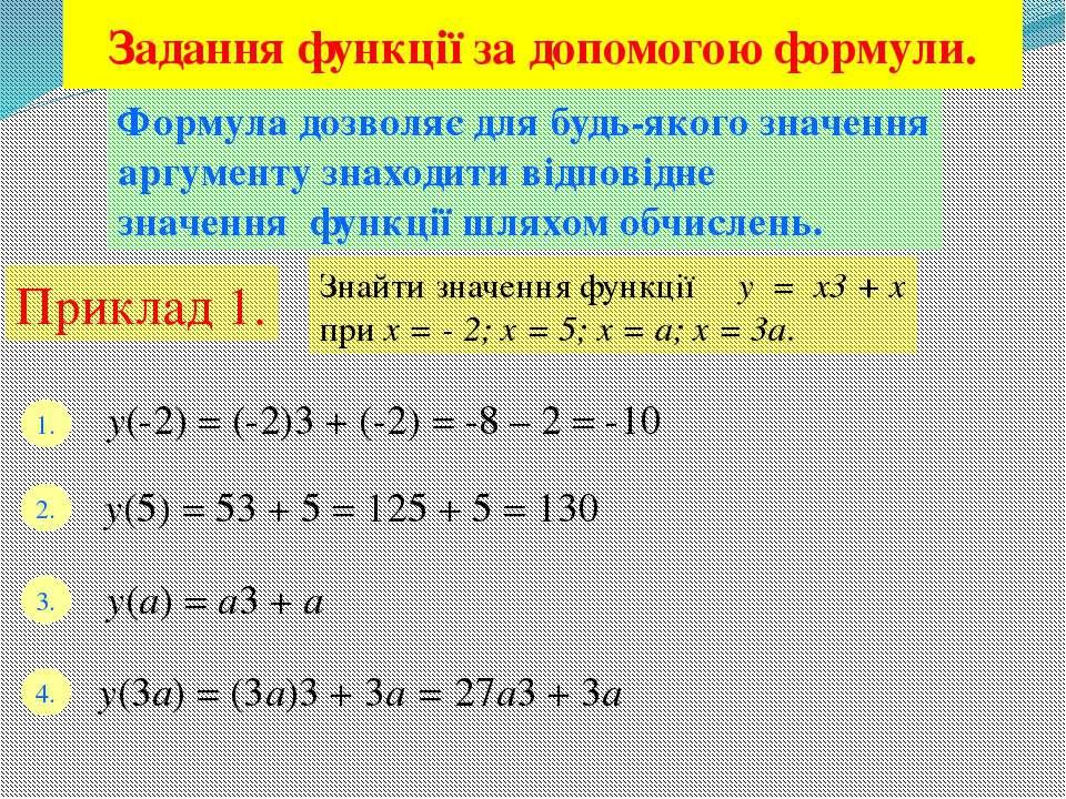 Задання функції за допомогою формули. Формула дозволяє для будь-якого значенн...