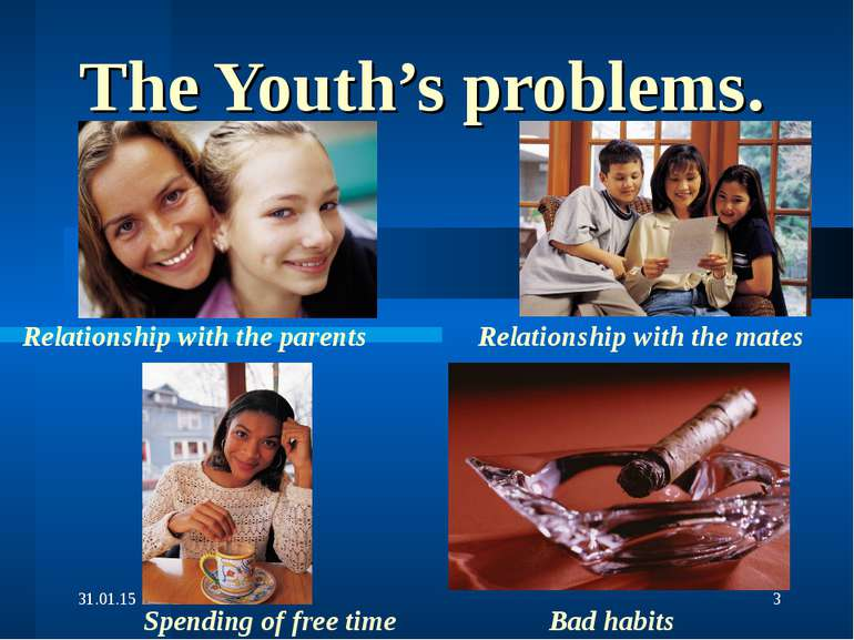 The Youth's problems. Relationship with the parents Spending of free time Rel...