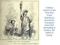 """Political cartoon of the First Red Scare depicting a monstrous """"European Anar..."""