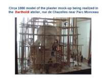 Circa 1880 model of the plaster mock-up being realized in the Bartholdi ateli...