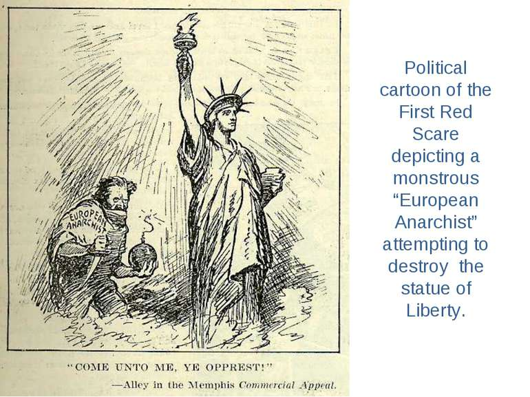 "Political cartoon of the First Red Scare depicting a monstrous ""European Anar..."
